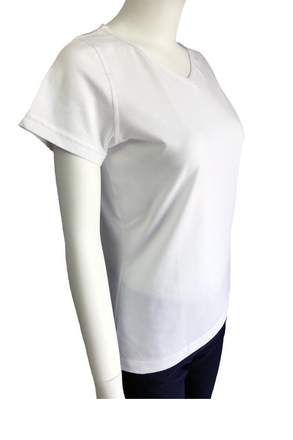 V Neck Tee Slim Fit - White