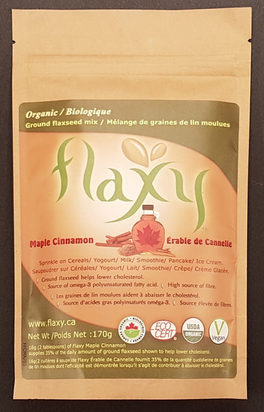 Flaxy Inc's sweet maple cinnamon flavor flaxseed product which can be sprinkled on pancakes, waffles, diced or cubed fruits like apples/ banana / pears