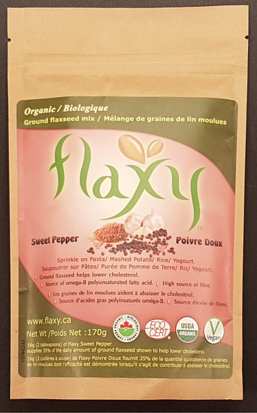 Flaxy Inc's spicy sweet pepper flavor of flax seed product which can be added on egg salad, pasta salad, sour cream, hummus, dip for tortilla