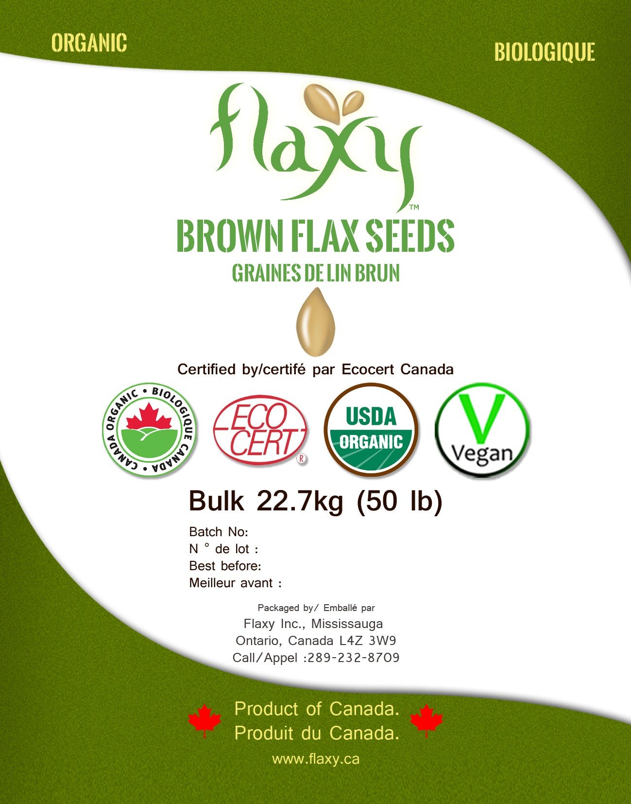 Flaxy -  Brown Flax Seed Organic 50 lb Free shipping in GTA contact by mail for bulk requirement - Flaxy