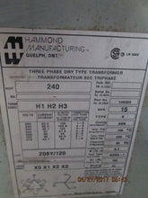 HAMMOND 3PHASE DRY TYPE TRANSFORMER HV/HT 240,15 KVA NEMA 1 USED_AS-IS_FCFS!