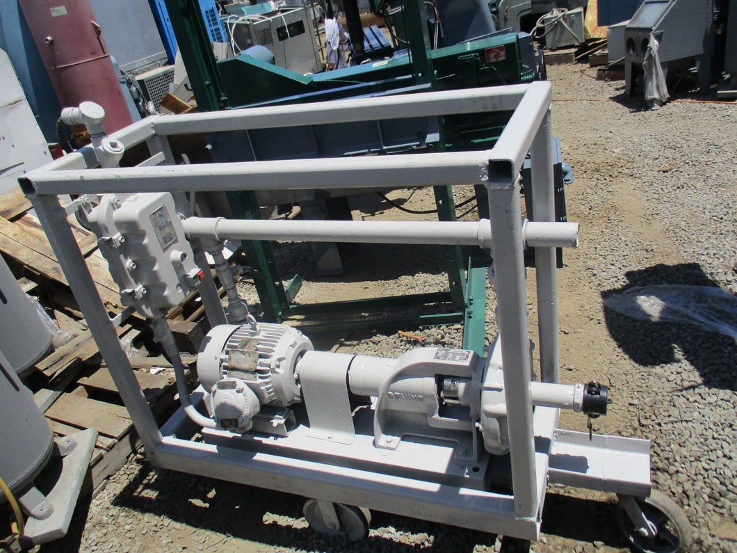 DEMING MDL 4021 5 H.P. COMPLETE EXPLOSION PROOF CENTRIFUGAL PUMP ASSEMBLY /CART