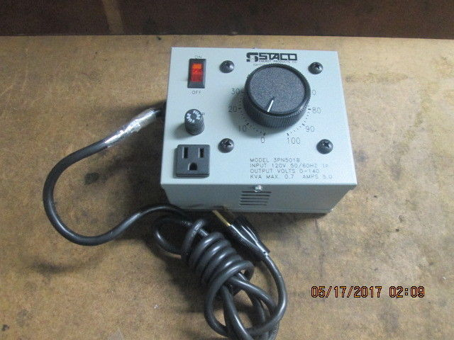 STACO ENERGY 3PN501B VARIABLE TRANSFORMER 120v 5 amps *NEW OTHER*