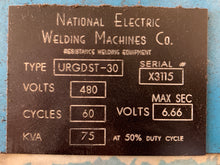 NATIONAL ELECTRIC WELDING MACHINES CO TYPE URGDST 75KVA SEAM WELDER