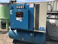 QUINCY 15 HP ROTARY AIR COMPRESSOR MODEL QMT15ACA12SG WITH TANK ONLY 13K HOURS!!