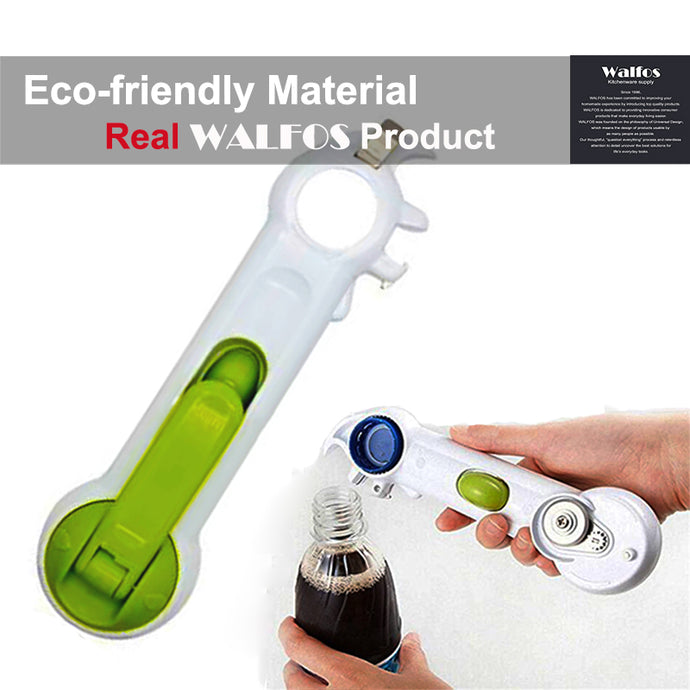 WALFOS 6 Ways Universal Can Opener For Opening Jar Can Bottle Wine Kitchen Multi Purpose All Size in One Tool 1 Piece
