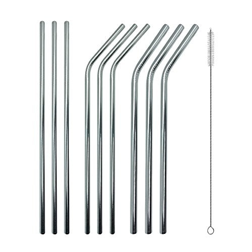 Stainless Steel Straws, Reusable Metal Drinking Straws 21.5 cm, 9-Piece Set (3 Bent and 3 Straight + 3 Wide Smoothie Straws)