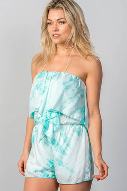 Ladies fashion  aqua tie-dye flounce strapless mini romper