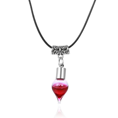 Blood Necklace Red Plasma Bottle Pendant Necklace