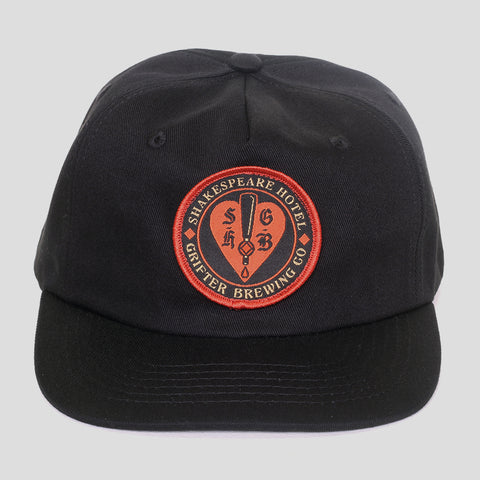 SHAKESPEARE HOTEL & GRIFTER BLACK 5 PANEL CAP