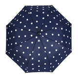 Auto Open Umbrella - Navy Polka Dot