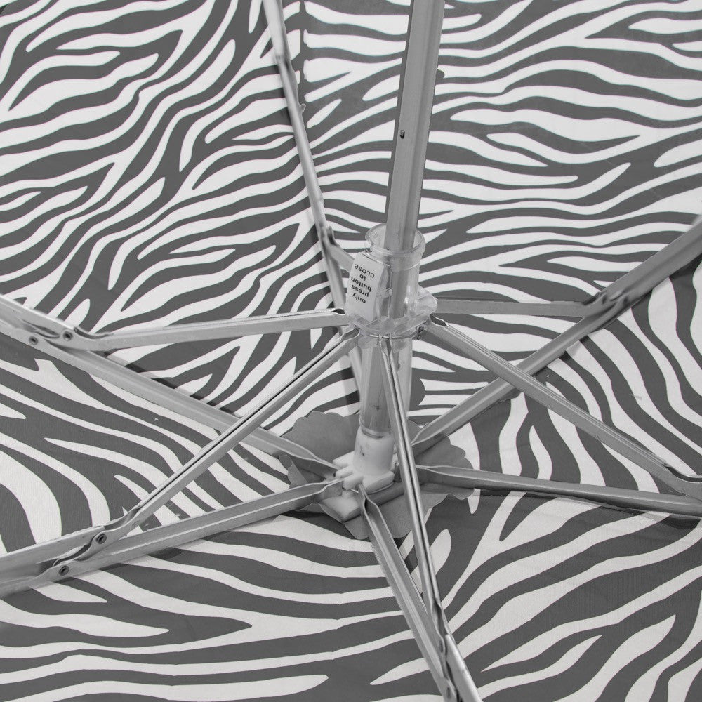 Flat Mini Manual Open Umbrella - Zebra
