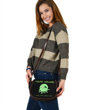 Strange Being Black Canvas Saddle Bag