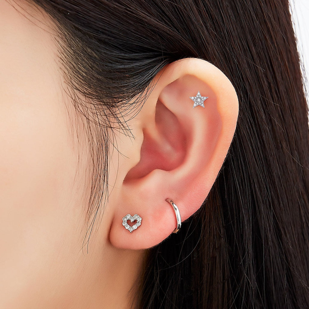 HEART DIAMOND SINGLE EARRING