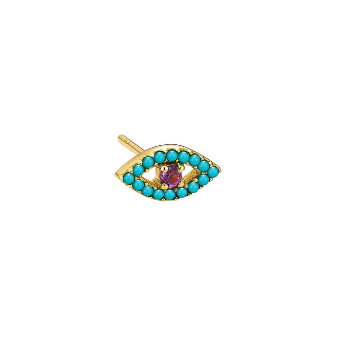 Turquoise & Amethyse Evil Eye Single Earring