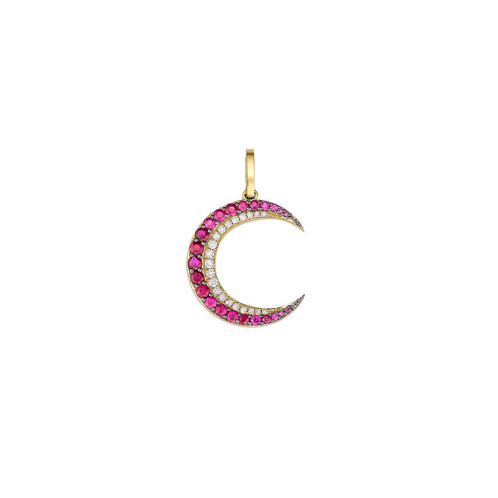 Crescent Ruby & Diamond Charm