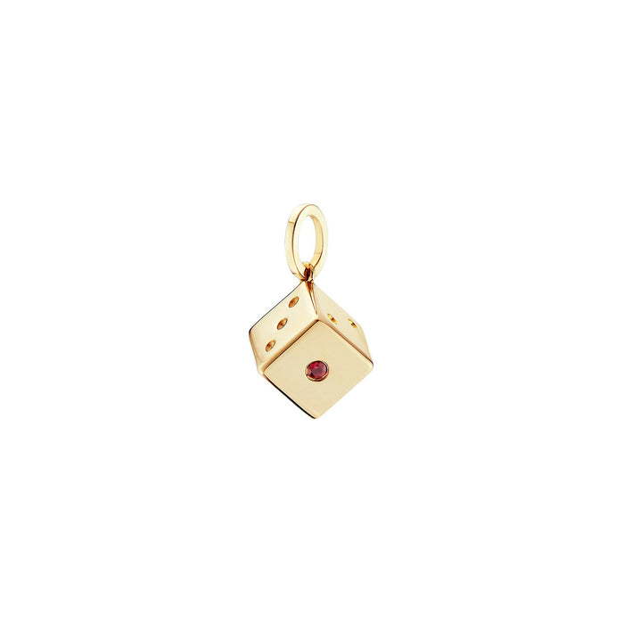 Gold Ruby Dice Charm