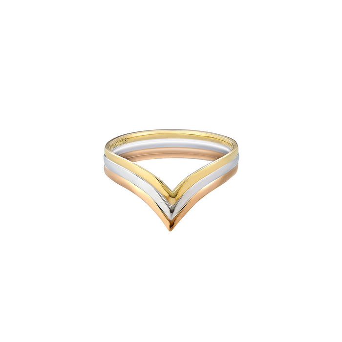 18K gold , rose gold and white gold V ring