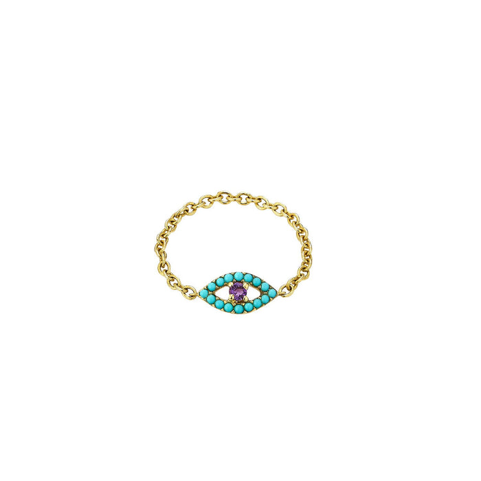 Turquoise & Amethyse Evil Eye Chain Ring