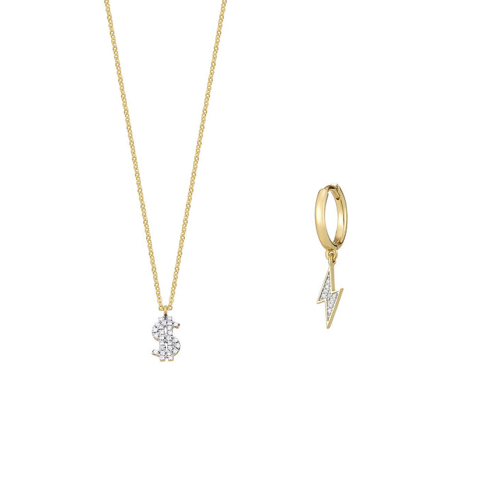 Dollar sign Diamond Necklace and Single Earring Set