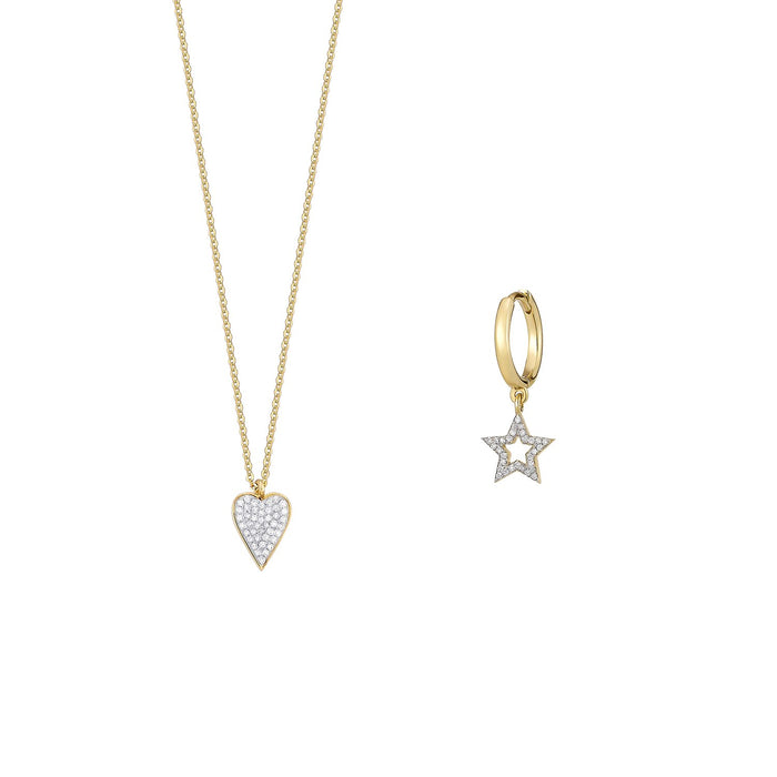 Heart Diamond Necklace and Single Earring Set