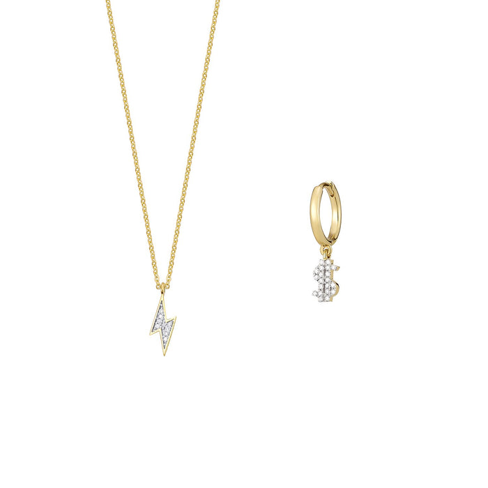 Lightning Diamond Necklace and Single Earring Set