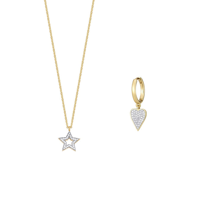 Open Star Diamond Necklace and Single Earring Set