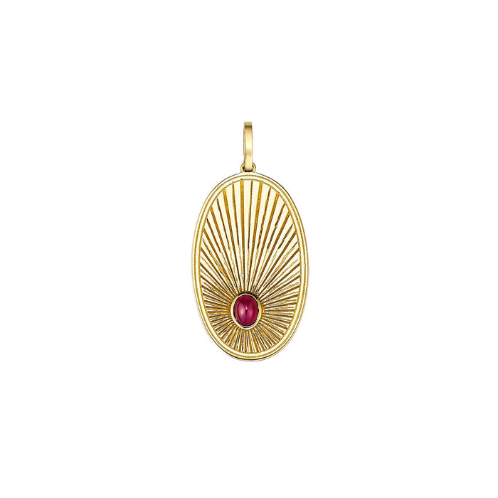 Oval Ruby Gold Charm