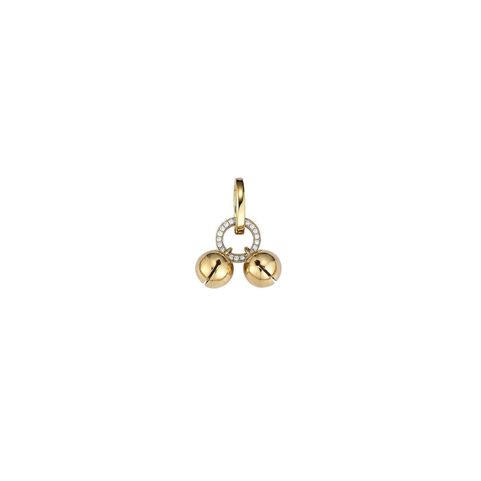 Tiny Gold Bells Diamond Charm