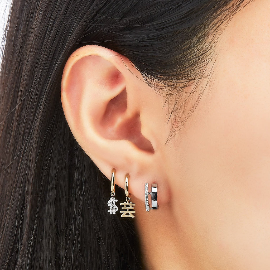 Dollar Sign Diamond Single Earring ( 2 Colors )