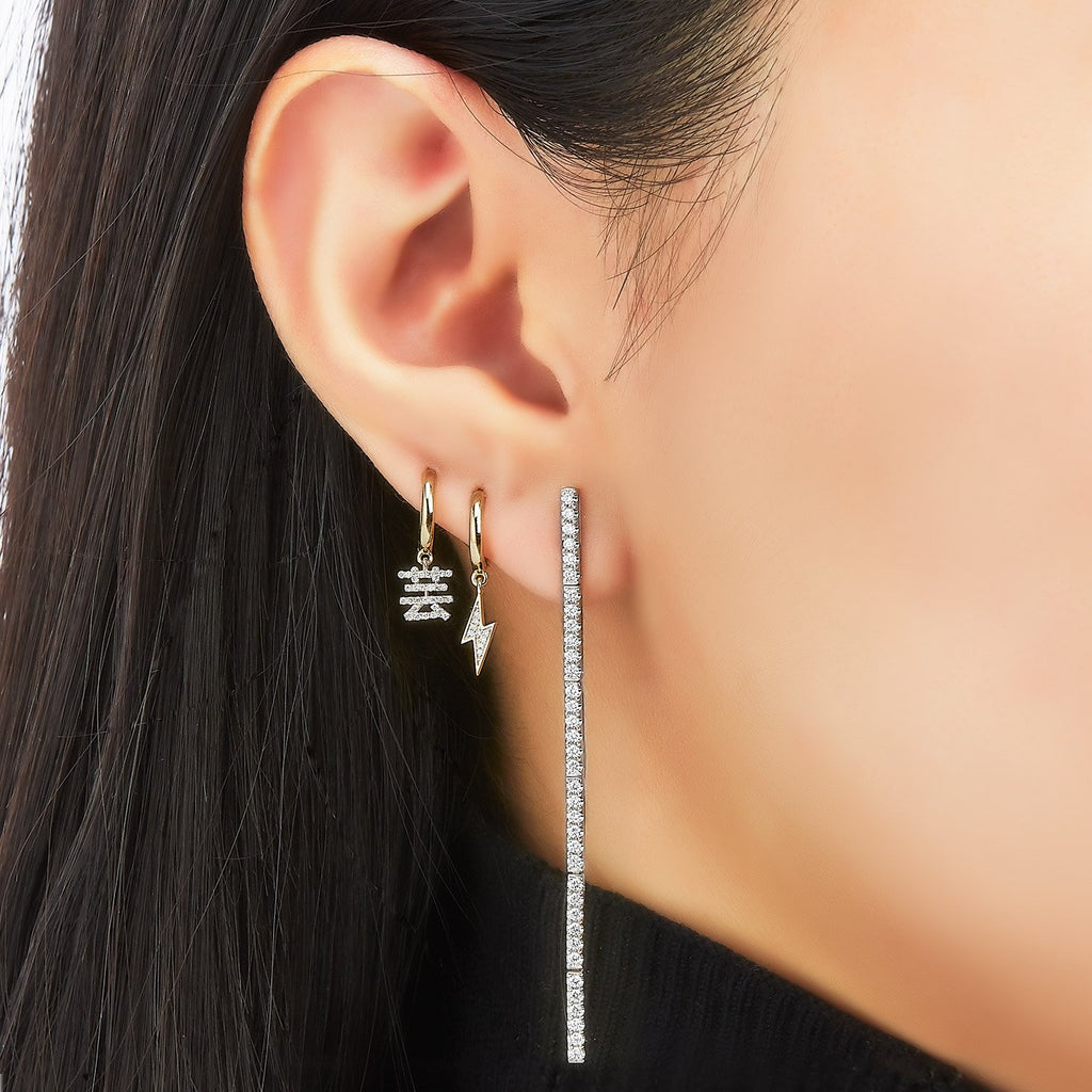 Custom Hoop Diamond Single Earring ( 2 Colors )