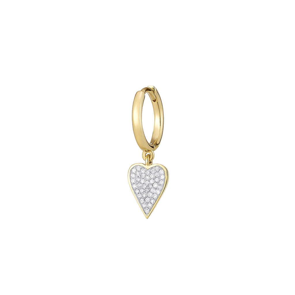 Heart Diamond Single Earring ( 2 Colors )