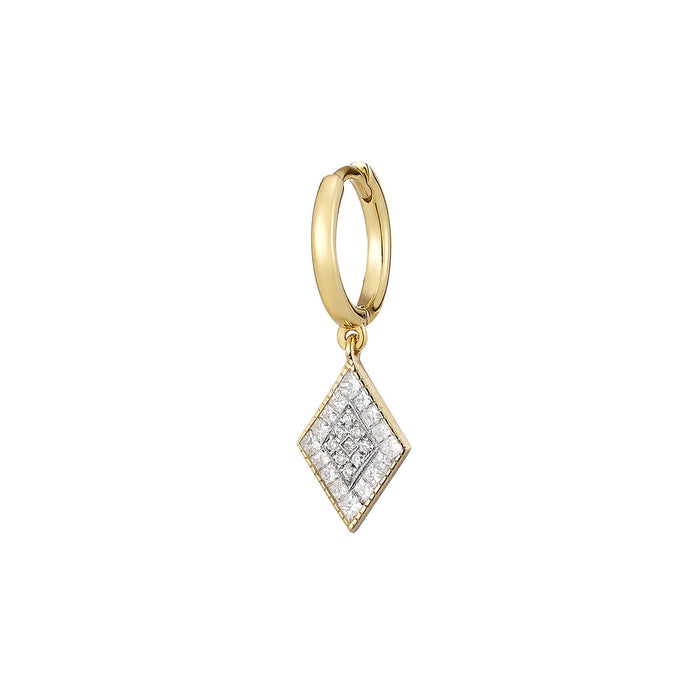 Mini Rhombus Diamond Single Hoop Earring ( 2 COLORS )
