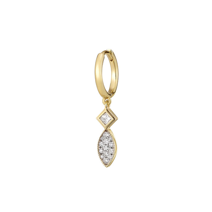 Tiny Leaf Diamond Single Hoop Earring ( 2 COLORS )