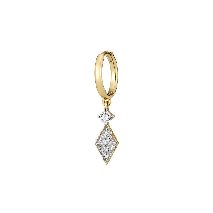 Tiny Rhombus Diamond Single Hoop Earring ( 2 COLORS )