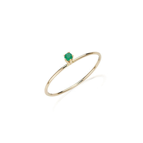 Delicate Solitaire Emerald Ring