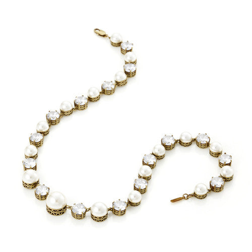 Pearl and CZ Riviere Necklace