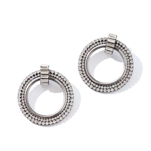 Statement earrings with antique silver finish. Round with CZ stones.