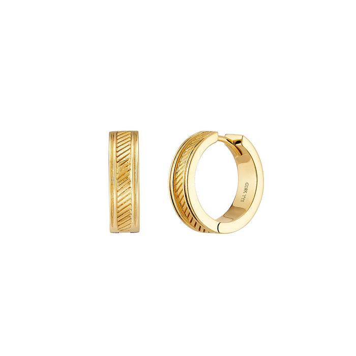 Gold Twill Huggie Earrings