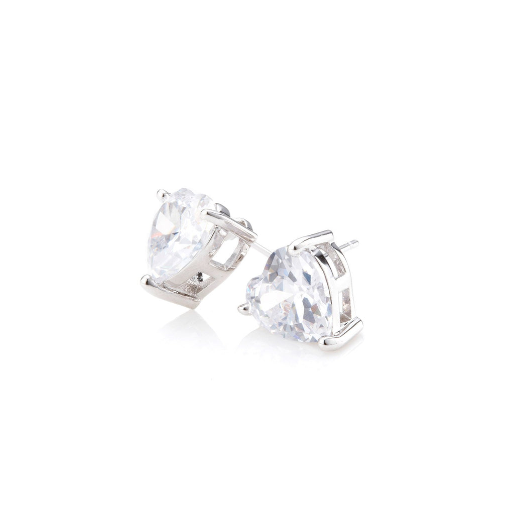 Solitaire CZ Heart Earrings ( 2 Colors )