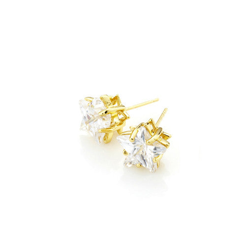 Solitaire CZ Star Earrings ( 2 Colors )