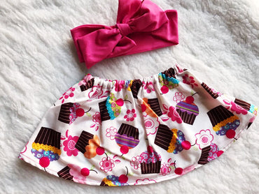 Cup Cake 2 PC SET Skirt and Headband  FREE SHIPPING
