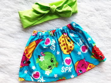 Shopkins 2 PC SET Skirt and Headband  FREE SHIPPING