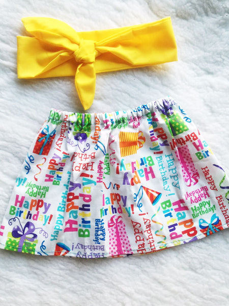 Happy Birthday 2 PC SET Skirt and Headband  FREE SHIPPING