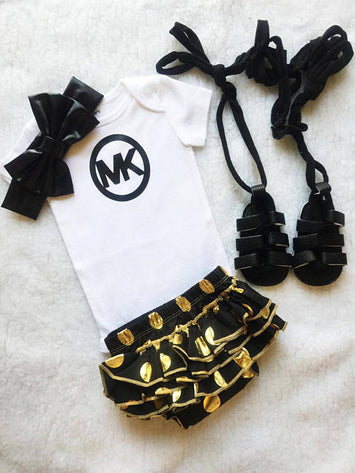 MK 3 PC set (Onesies + diaper cover + headband) $29