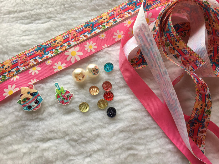 $5 shopkins 7/8 Grosgrain Ribbon & beads Bundle