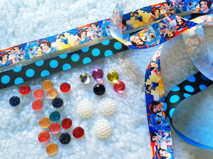 $5 Princess Snow White  7/8 Grosgrain Ribbon & beads Bundle