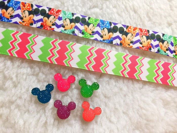 $5 Disney Mickey 7/8 Grosgrain Ribbon & beads Bundle