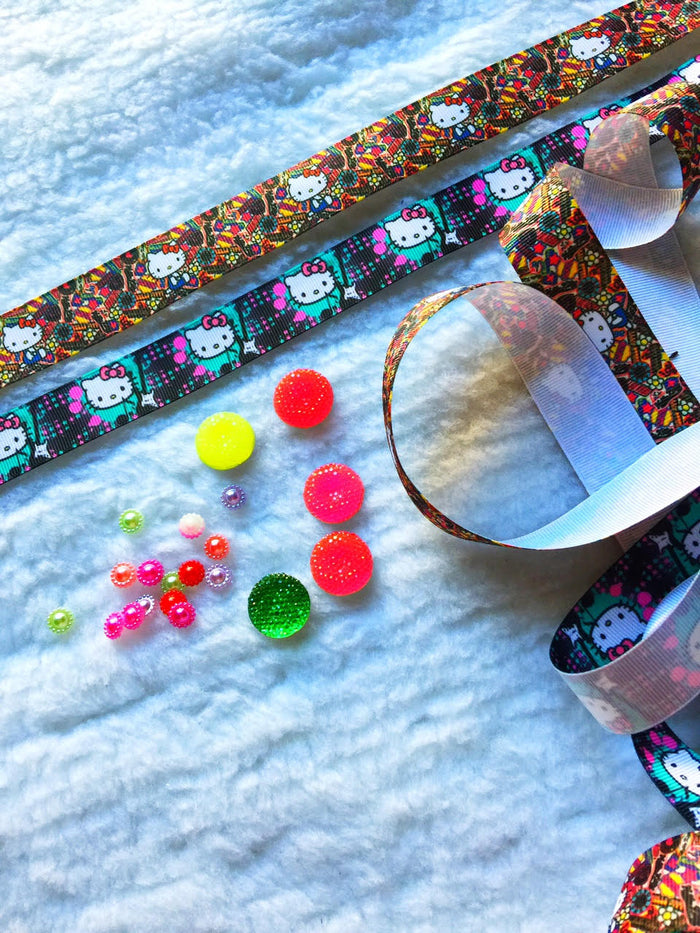 $5 Hello Kitty 7/8 Grosgrain Ribbon & beads