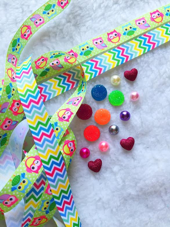 $5 Owl 7/8 Grosgrain Ribbon & beads